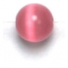 Cat Eye Beads 6mm Round Dark Pink Fibre Optic